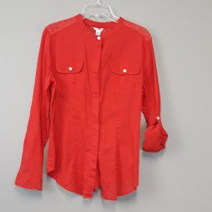 Calvin Klein Red Open Lace Button Up Top Size M